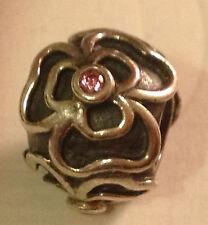 Genuine Pandora Silver Pink Flower Charm Bead 790413CZS  Retired.