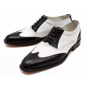 Handmade Men Wingtip Formal Shoes, Spectator Dress Shoes, Shoes