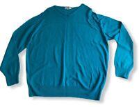 John Smedley Jumper Large Green Teal 100% Pure New Wool
