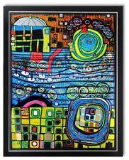 Bild Kunstdruck Hundertwasser die vier Einsamkeiten Galeriebild mit Rahmen -40%