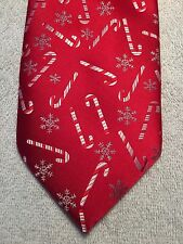 """HOLIDAYS MENS TIE RED WITH CANDY CANES AND SNOWFLAKES 3.75"""" X 59.5"""""""