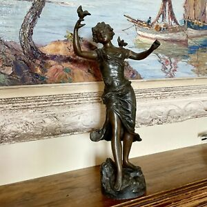 Antique Bronze Metal Figure Of A Woman With Dove - 40cm H
