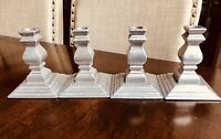 """4 Wilton Armetale Pewter Colonial Candlesticks Square Base Candle Holders 5"""""""