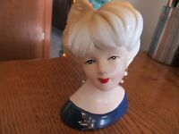 VINTAGE HAND PAINTED NIPPON LADY HEAD VASE BLUE DRESS/BRIGHT LIPSTICK/EARRINGS