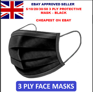 5/10/20/30/50 3 PLY BLACK DISPOSABLE FACE MASKS NON-MEDICAL SURGICAL MASK