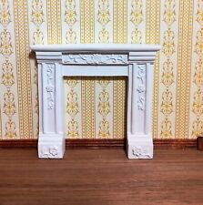 Dollhouse Miniature Victorian Fireplace Surround with Flowers White Resin 1:12