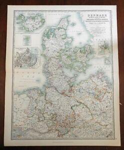 Kingdom of Denmark Jutland Fyn Sjaelland Copenhagen 1905 large detailed map