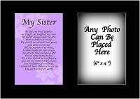 My Sister Poem Personalised with ANY PHOTO Birthday Christmas Gift