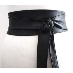 Women's Pure Genuine Leather Obi Belt Ladies Wide Waistband Self Tie Waist Band