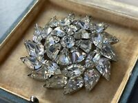 Vintage Weiss Brooch Starburst Clear Crystal Pin Stunning Statement Jewellery