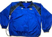 Adidas UCLA Mens Blue Long Sleeve 1/4 Zip Windbreaker Jacket Size 2XL