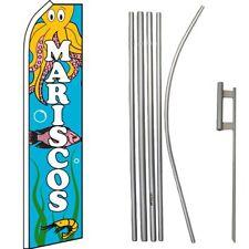 Mariscos Seafood Blue Swooper Flag & 16ft Flagpole Kit/Ground Spike