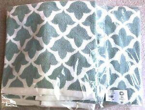 NWT NEW Pottery Barn 2 Bath Organic Marlo Organic Jacquar Towels Porcelain Blue