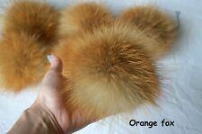 Natural fox pom pom Orange white fur ball 5 6 inch for knit hat