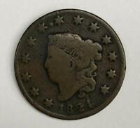 1824 Coronet Head Large Cent 1¢ VG