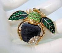 NEW Joan Rivers Black Onyx APPLE BEE PIN Bug Brooch Crystal Rhinestones Enamel