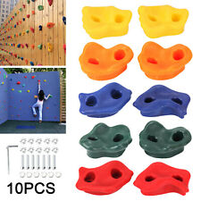 10PC Textured Resin Bolt On Climbing Frame Rock Wall Grab Holds Grip 80mm Stones