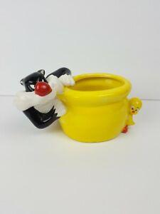 Trinket Holder Sylvester Tweety Planter Warner Bros Looney Tunes Pencil Holder