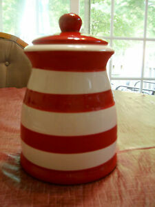 TERRAMOTO CERAMIC CANISTER RED AND WHITE STRIPED