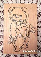 Sir Stamp-A-Lot Large Teddy Bear Wearing Tuxedo Mounted Rubber Stamp New #116