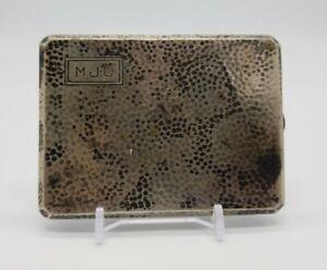 Art Deco International Silver Sterling Cigarette Case Hammered MJD Mono 108 Gram
