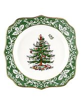 "Spode Christmas Tree Embossed Scalloped Plate Green Gold 10"" Holiday Decor Gift"