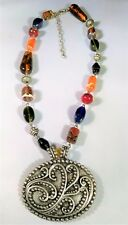 Cool Colorful Glass Bead Necklace Pewter BOHO Pendant Fall Autumn Tones Trendy