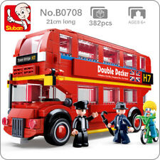 Sluban B0708 Model Bricks London Double Decker Bus Red Car Building Blocks Toy
