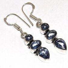 Mm-40905 Blue Quartz 925 Silver Plated Earrings 1.8""