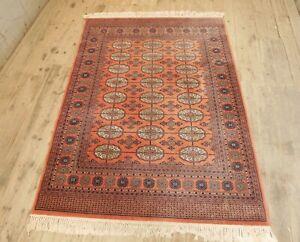 Vtg 70s Mid Century Bohemian Boho 214x140 Super Keshan Wool Handmade Carpet Rug