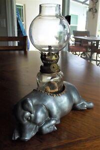Morton's Steakhouse Pewter Sleeping Pig Oil Lamp w/Glass Chimney-Petites Choses