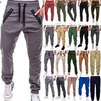 Mens Skinny Track Pants Slim Fit Joggers Jogging Bottom Gym Pockets Trousers