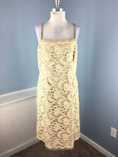 Talbots XL 12 14 Gold Brown Lace Dress Formal Mother bride Cocktail Sheath EUC