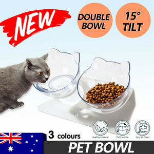 Double Cat Bowl Pet Bowls Stand Dog Elevated Feeder Food Water Raised Lifted AU