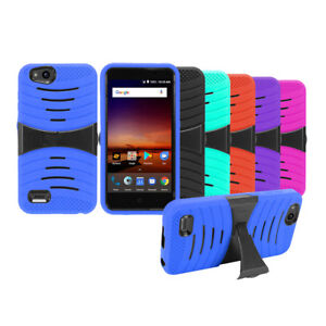 Armor KickStand Hybrid Rugged Case Cover For Straight Talk ZTE ZFIVE G / Z557BL