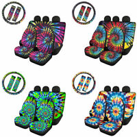 Fashion Tie Dye Car Seat Covers+Steering Wheel Cover&Seat Belt Covers 7pcs Set