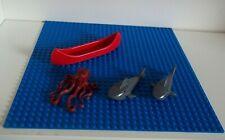 LEGO BASEPLATE BLUE 3811 32X32 PLUS SEA CREATURES CANOE 6021 6086, 14518 SHARKS+