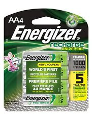 Energizer Universal NiMH AA Rechargeable Batteries, 4-Count 2000 mAh, 1000 Cycle