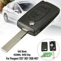 2 Boutons Clé Télécommande 433MHz Transpondeur ID46 pour Peugeot 207 307 308 407