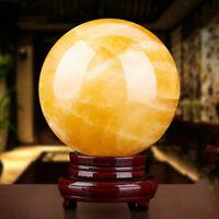 40mm Citrine Quartz Crystal Ball Sphere Healing Reiki Chakra Stone + Stand Base
