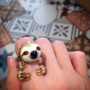 Mary Lou Grey Sloth Trio Ring Set