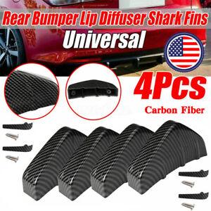 4 PCS Carbon Fiber Car Rear Bumper Lip Diffuser Splitter Spoiler Shark Fins USA