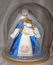 VINTAGE WAX MADONNA VIRGIN MARY & CHILD STATUE FIGURE GLASS DOME RELIGIOUS ICON