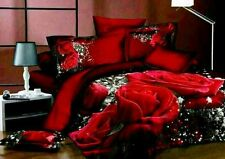 Double size  Red Roses print 3D duvet bedding set 100% cotton