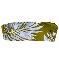 Kona Sol Pear Green & White Palm Leaf Print Padded Strapless Bikini Swim Top L
