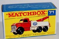 Matchbox Lesney 71 Heavy Wreck Truck empty Repro style F Box