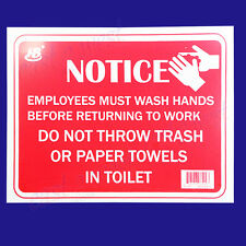 """NOTICE Employees Must Wash Hands Before Returning to Work 9""""x12"""" -1 Plastic Sign"""