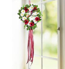 sehr schöner Tür-/Wandkranz mit roten + weißen Blüten und 2 Vögelchen, 28cm, neu