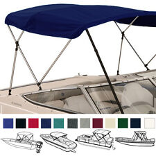 "BIMINI TOP BOAT COVER NAVY 3 BOW 72""L 46""H 91""- 96""W - W/ BOOT & REAR POLES"