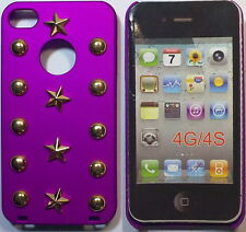 COVER CUSTODIA RIGIDA PER APPLE IPHONE 4- 4S COLORE FUCSIA E BORCHIE DORATE